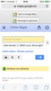 captura como llegar en google maps búsqueda pizzeria.