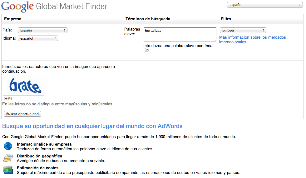 captura de la herramienta google global market