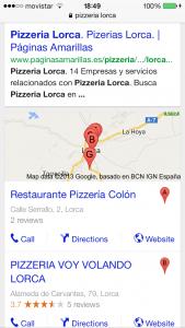 captura búsqueda en google de una pizzeria